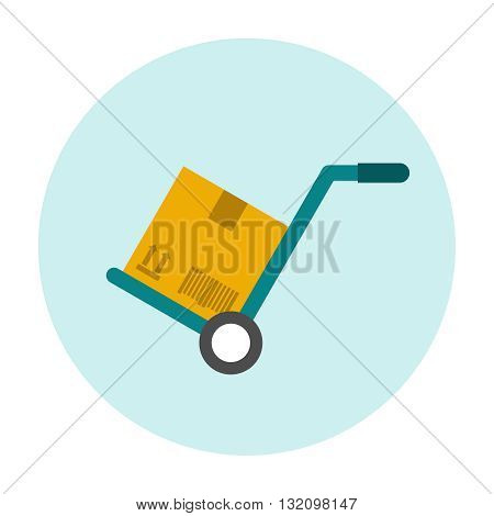 Hand truck flat icon with cardboard box