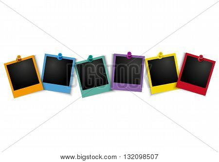 Colorful photo frame with pushpin on white background