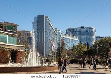 Sochi, Russia - February 9, 2016: Sochi, Russia - February 9, 2016: Modern architecture on the coast Black Sea in city Sochi. The hotel complex Sochi Plaza