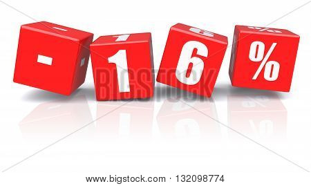 16% discount red cubes on a white background. 3d rendered image