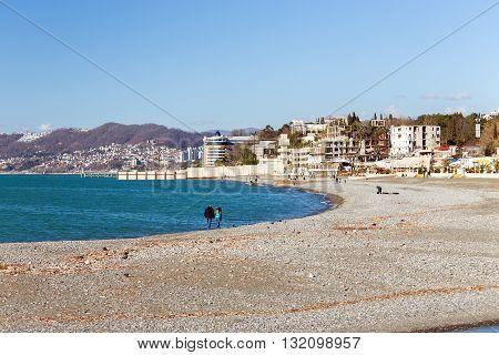 Sochi, Russia - February 9, 2016: The Black Sea in the month of February in Sochi