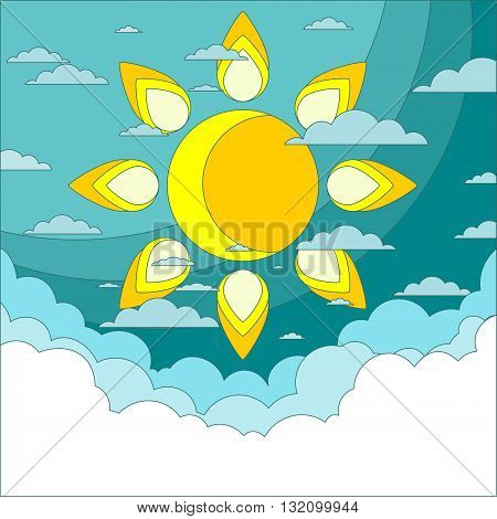 Sun in the sky. Good weather background. Blue sky with clouds. Vector illustration