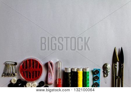 Needle And Thread,scissors And Needle Work Accessories  On White Background