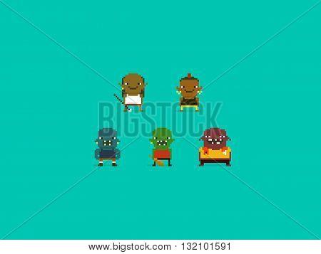 Set of different pixel art characters orcs and trolls fantasy warriors