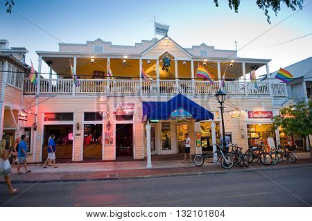 KEY WEST FLORIDA USA - MAY 01 2016: Shops in the twilight in Duval street in the center of Key West