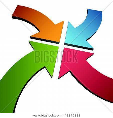 Four Curve Color 3D Arrows Converge Point Center