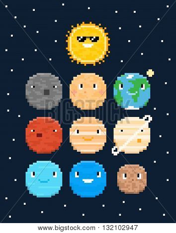 Pixel art characters solar system planets with stars isolated on dark blue background