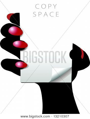 Woman Hand Holds White Copy Space Pad Page
