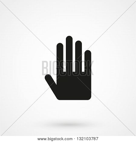 Hand Icon Vector Black On White Background