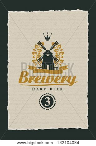 labels for beer and the brewery with a windmill