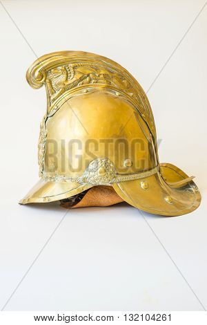British Other Ranks Merryweather Brass Fire Helmet used during the blitz Second World War with consequent damage