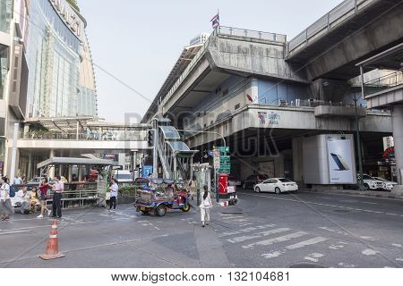 BANGKOKTHAILAND - APR 29 : BTS Asok station and terminal 21 shopping mall on Sukhumvit road in Asok area on april 29 2016 Thailand. BTS is large Mass Transit in Bangkok