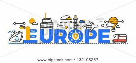 Travel europe word text creative design. Travel europe journey and monument famous. Trip airplane or aircraft transportation to paris and rome city tour, vacation tourism poster. Vector illustration