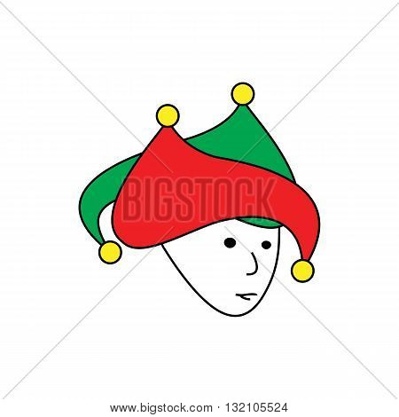 Cartoon style joker jester vector illustration isolated on white background.