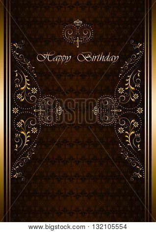 luxury greetings card with Happy Birthday on patterned burgundy background
