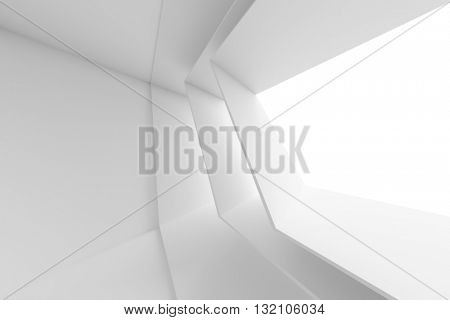 3d Illustration od White Interior Design. Futuristic Room with Window. Abstract Architecture Background