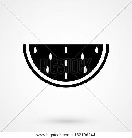 Watermelon Icon Vector Black On White Background