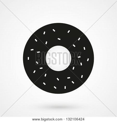 Donut Icon Vector Black On White Background