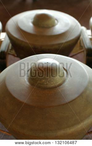 Bonang the  musical instrument used in the Javanese gamelan