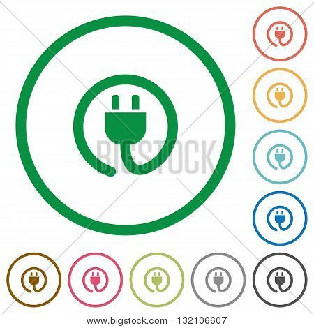 Set of power cord color round outlined flat icons on white background