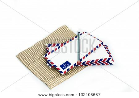 many air mail letter on the white background.