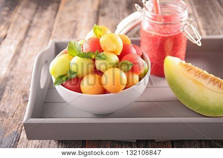 fruit salad,smoothie and melon