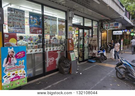 BANGKOK THAILAND - APR 29 : Seven-Eleven store near Sukhumvit 31 road near Sawatdi Junction on april 29 2016. Seven-Eleven is biggest franchise grocery in thailand
