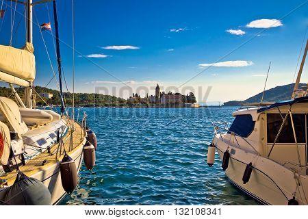 Vis island yachts and church view Dalmatia Croatia