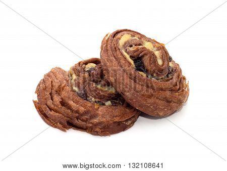 Two cinnamon rolls isolated on white background