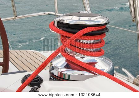 The wound on the winch rope red. Regatta