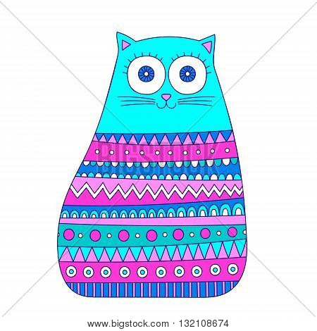 Doodle tribal cat. Vector hand drawn cute cat with doodle ornament - lines dots stripes. Isolated. Fun design for kids. Bright colors - blue pink and mint.