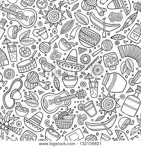 Cartoon hand drawn latin american seamless pattern. Lots of symbols, objects and elements. Perfect funny vector background.