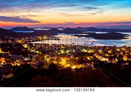 Adriatic archipelago at sunset from Murter island view Dalmatia Croatia
