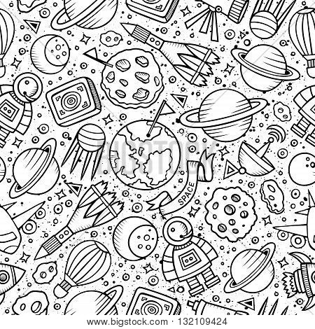 Cartoon hand drawn space seamless pattern. Lots of symbols, objects and elements. Perfect funny vector background.
