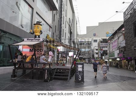BANGKOK THAILAND - APR 30 : people on street in sian aquare soi 5 of Siam Square on april 30 2016 thailand. siam square is famous shopping place of Bangkok