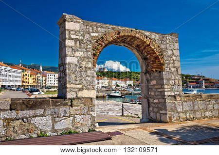 Historic town of Senj arch gate and waterfront view Primorje Croatia