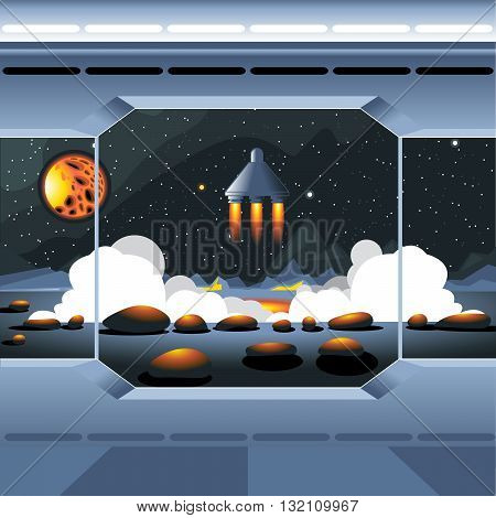 Spacecraft interior view and window to space and sun. Spaceship launch from a planet with rocks. Digital vector image.