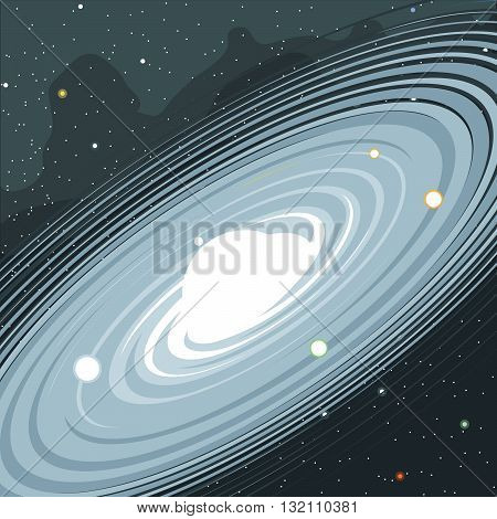 View of the galaxy in space with stars and planets. Digital vector image.