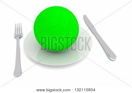 Volleyball food: beach volleyball with cutlery 3d illustration