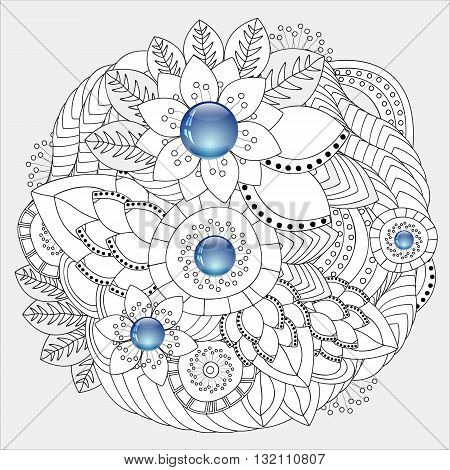 stock vector floral doodle pattern. decorative element