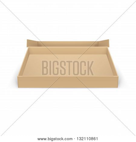 Open empty cardboard box on white background for creative design