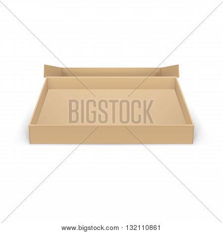 Open empty cardboard box on white background for creative design