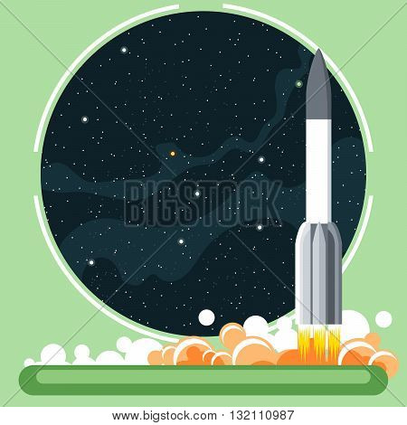 Rocket missile at launch with fire and smoke and space view. Digital vector image.