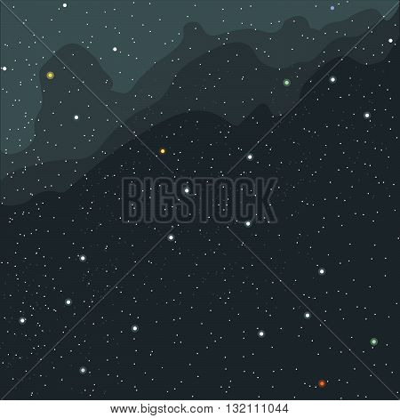 Space and cosmic view of the universe with stars planets and galaxies. Digital vector image.