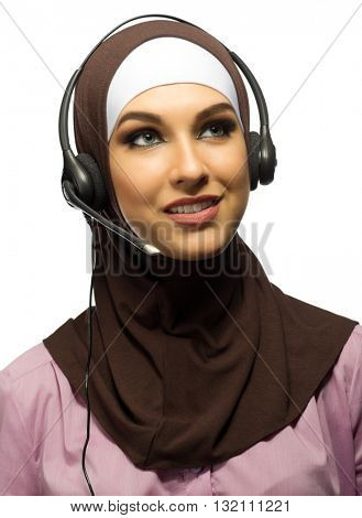 Muslim young woman call center worker isolated
