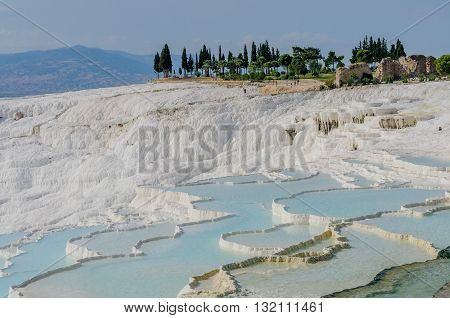 The travertine pools and terraces in Pamukkale.