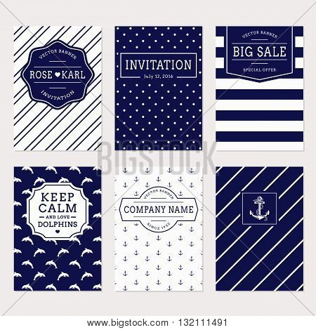 Set of nautical and marine banners and labels. Elegant card templates for sea theme design. Collection in white and navy blue colors. Vector illustration.