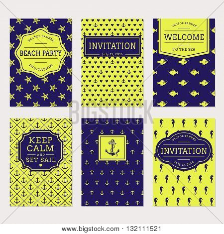 Set of nautical and marine banners and labels. Cute card templates for beach and sea themes. Vector collection.