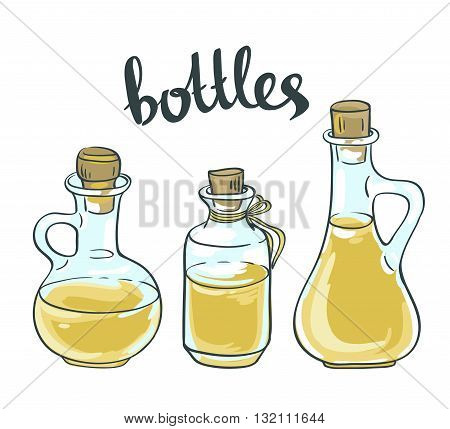 Vector Set of Olive or Sunflower Oil Glass Bottles Isolated on White Background