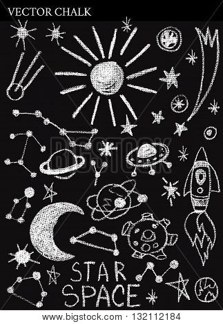 Hand Drawn Chalk Space Doodles